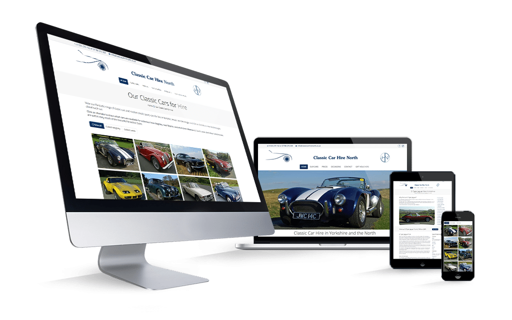 Classic Car Hire North - Mobile responsive WordPress website by Digital Nomads